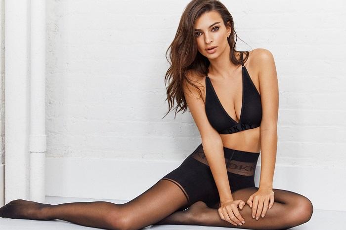 Emily Ratajkowski Fronts DKNY's Spring 2018 Intimates Campaign black bra tights