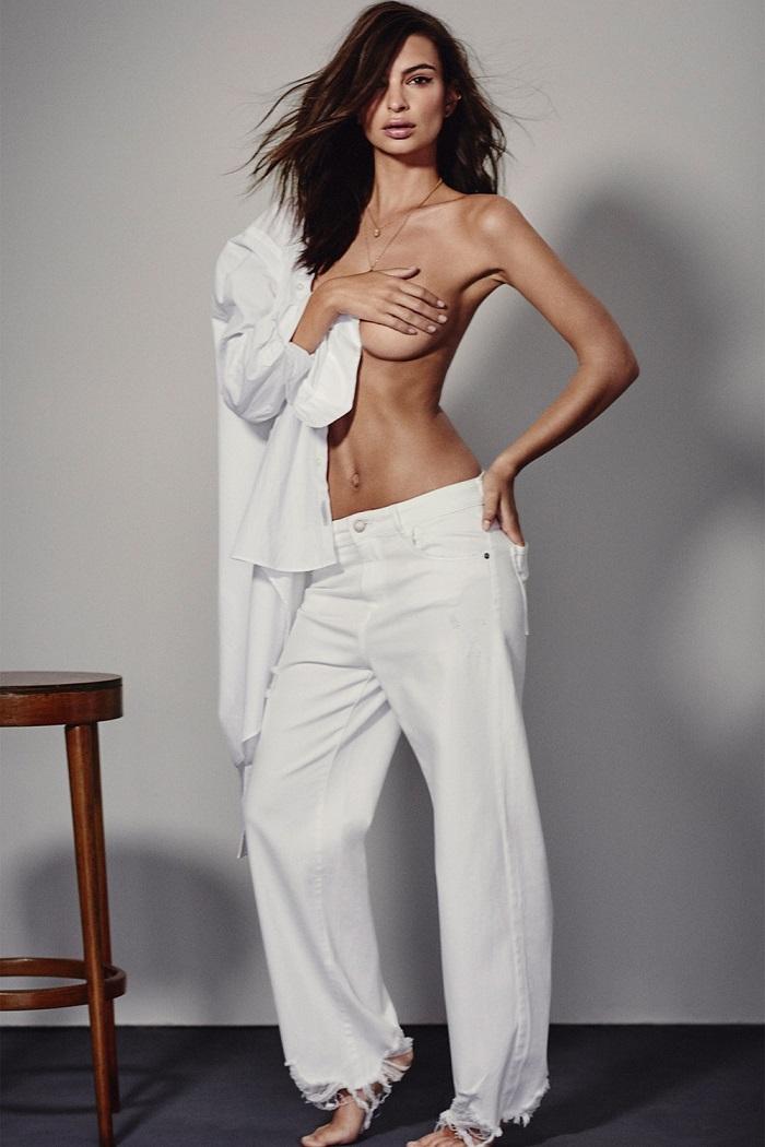 Emily Ratajkowski, Maye Musk & More Front DL1961's Spring 2018 Ads white jeans white shirt