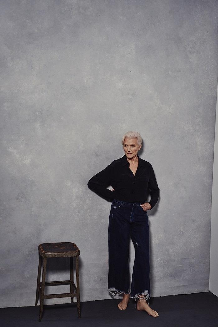 Emily Ratajkowski, Maye Musk & More Front DL1961's Spring 2018 Ads jeans black shirt