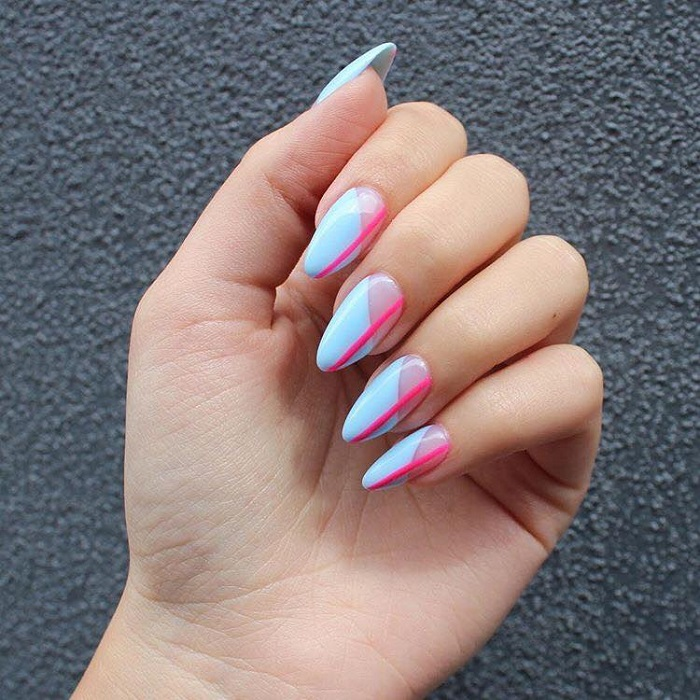 Gorgeous Pastel Nail Art to Try Out blue nails pink line