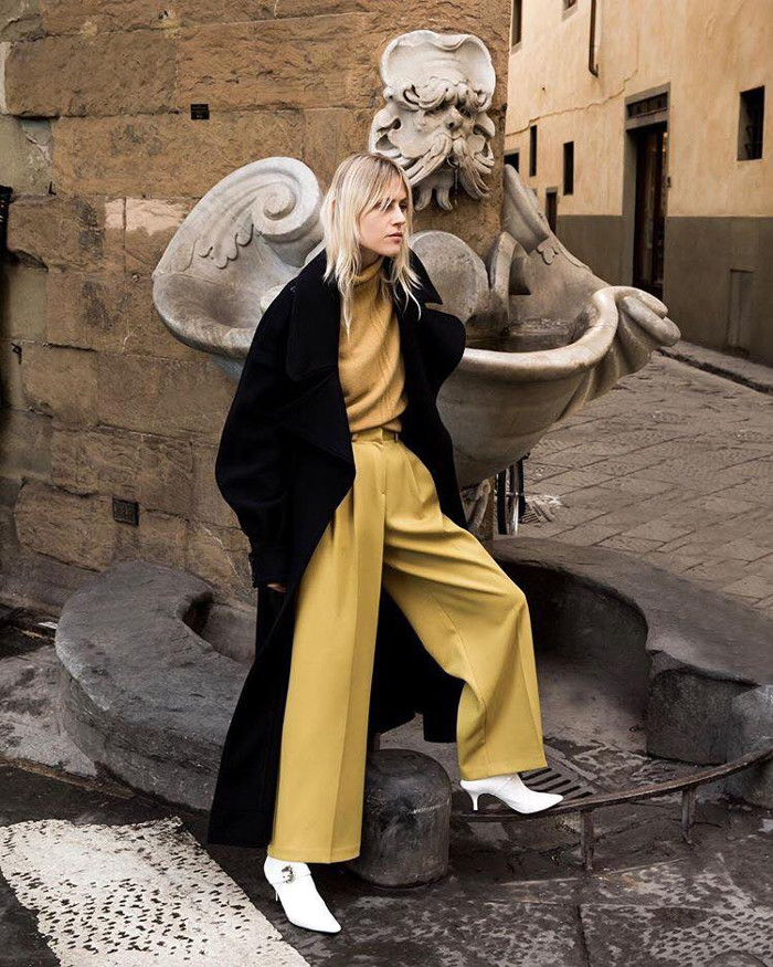 How to Wear Vintage Trends Today wide leg trousers, top and trench coat