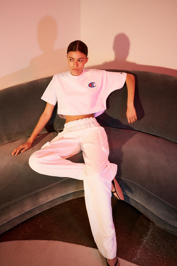 KITH Debuts Net-a-Porter Partnership with A Champion Collab white track pants white T-shirt
