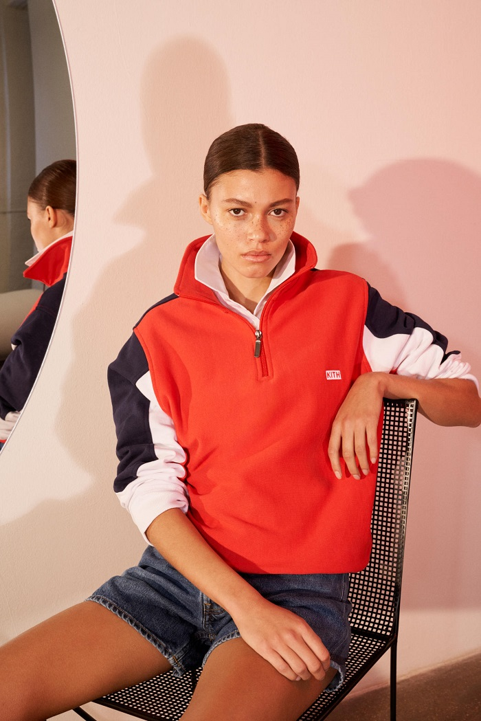 KITH Debuts Net-a-Porter Partnership with A Champion Collab red sweatshirt