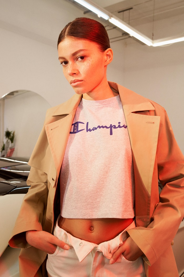 KITH Debuts Net-a-Porter Partnership with A Champion Collab white t shirt cream trench coat