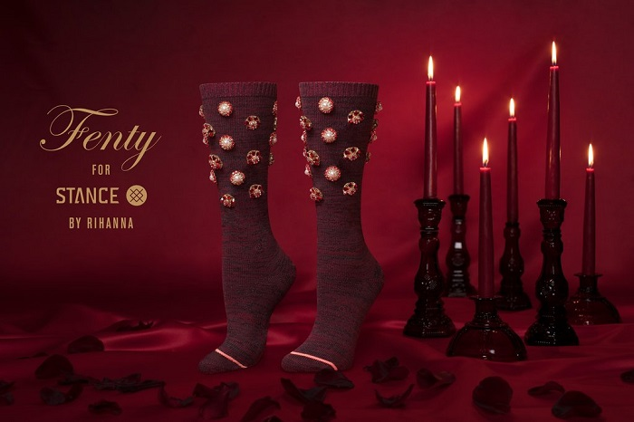 Rihanna x Stance Valentine's Day Collection Fenty Cold Hearted burgundy socks