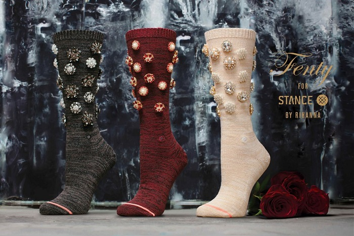 Rihanna x Stance Valentine's Day Collection Fenty Cold Hearted burgundy, ray, cream socks