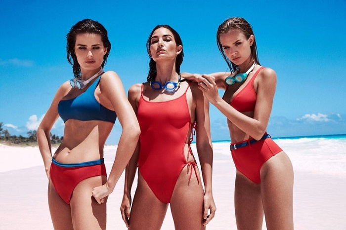 "Solid & Striped Tapped 13 Supermodels for ""Swim Team"" 2018 Campaign blue and red two piece swimsuit red one piece swimsuit"