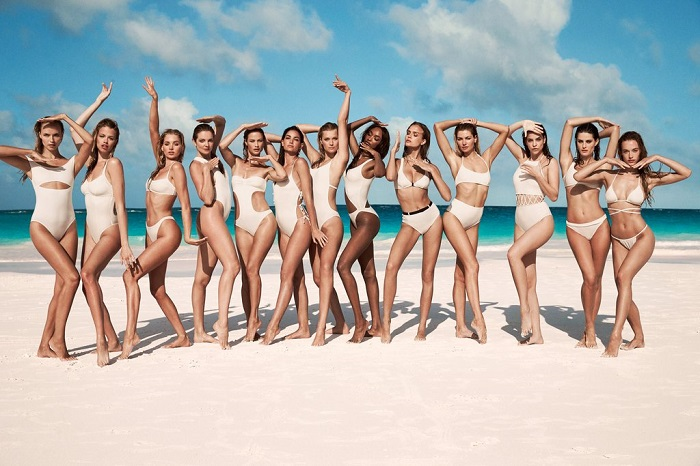 "Solid & Striped Tapped 13 Supermodels for ""Swim Team"" 2018 Campaign white one piece swimsuits white two piece swimsuits"