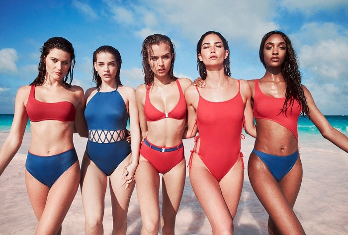"Solid & Striped Tapped 13 Supermodels for ""Swim Team"" 2018 Campaign blue and red two piece swimsuit blue and red one piece swimsuit"