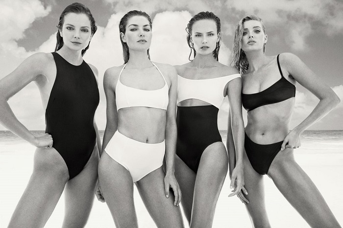 "Solid & Striped Tapped 13 Supermodels for ""Swim Team"" 2018 Campaign black and white swimsuits"