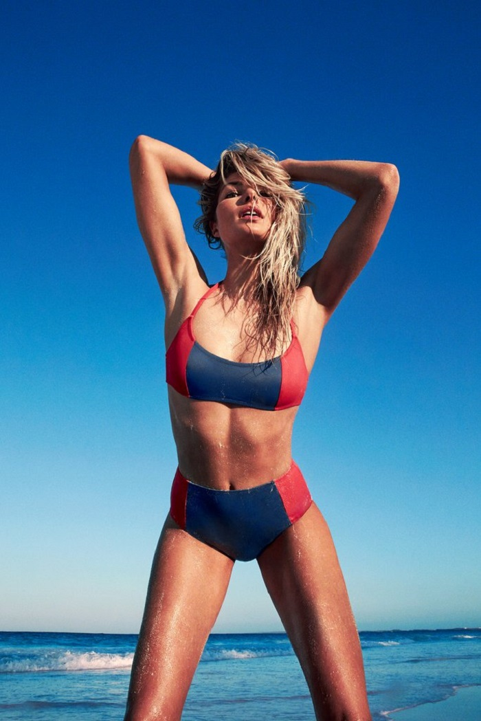 "Solid & Striped Tapped 13 Supermodels for ""Swim Team"" 2018 Campaign blue and red two piece swimsuit"