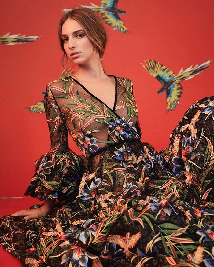 Talita Von Furstenberg Models DVF's Fall 2018 Collection black floral dress
