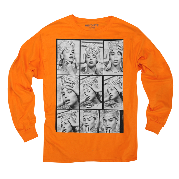 Beyoncé Dropped Nefertiti-Inspired Merch orange long-sleeved top