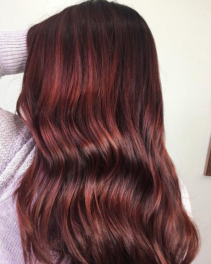 Fruit Juice is The Hottest Spring Hair Color Trend brown red hair color with highlights