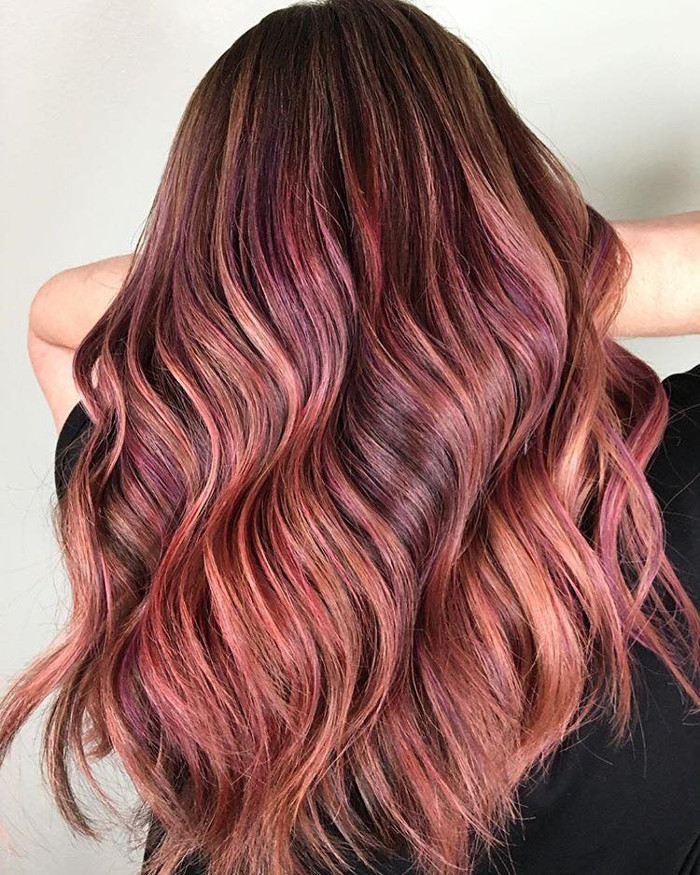 Fruit Juice is The Hottest Spring Hair Color Trend peach and pink highlights