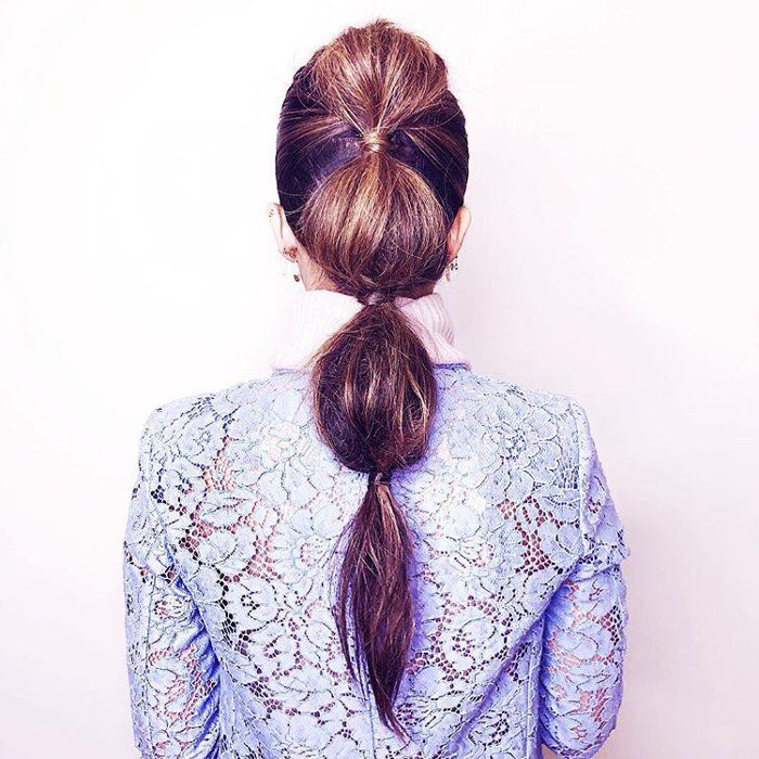 How to Upgrade Your Ponytail According to Celebrity Hair Stylists bubble ponytail