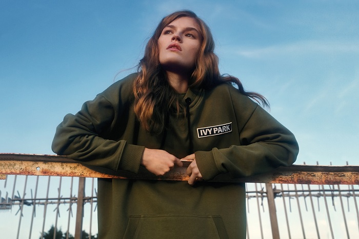 "Ivy Park Releases ""Strong Beyond Measure"" SpringSummer 2018 Campaign olive green hoodie"