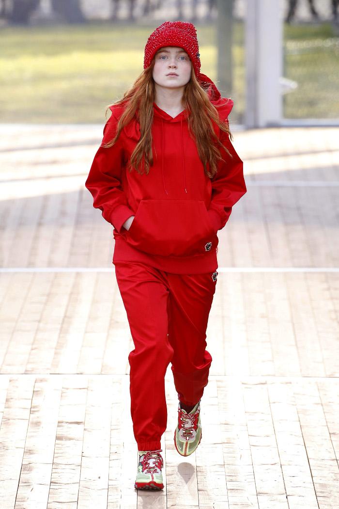 Stranger Things Sadie Sink Made Her Runway Debut at PFW red sweatsuit