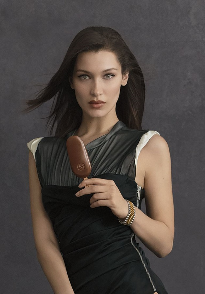 Bella Hadid & Alexander Wang Front Magnum's New Campaign ice cream black dress
