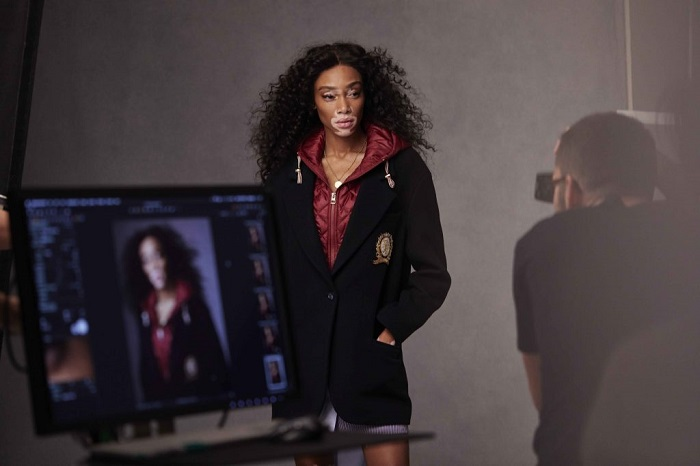Hailey Baldwin & Winnie Harlow Are Tommy Hilfiger's New Ambassadors navy jacket red hoodie
