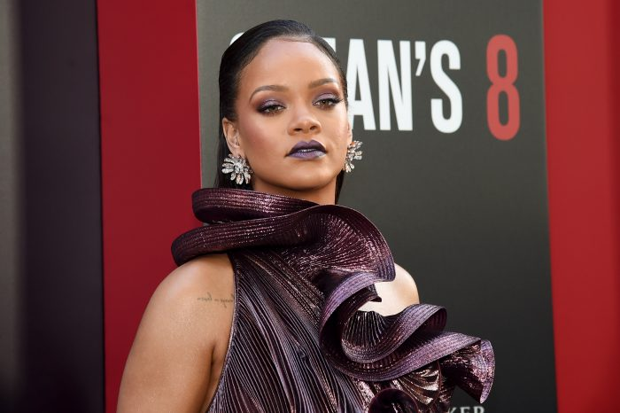Rihanna Teased New Fenty Products at Ocean's 8 Premiere metallic lipstick shimmery eyeshadow