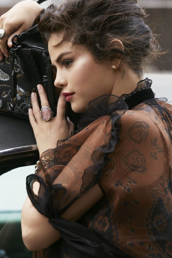 Selena Gomez Fronts Coach's Fall 2018 Ads black mini dress black bag