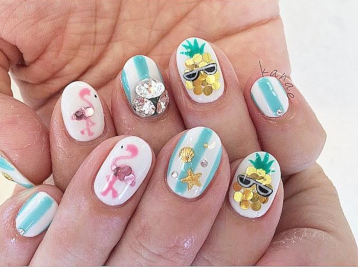 Summer Mood Tropical Nail Designs flamingo nails