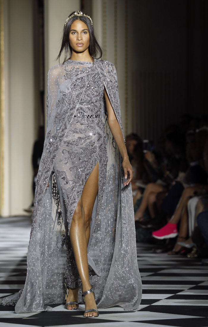 Zuhair-Murad-Fall-2018-Couture-at-Haute-Couture-Paris-Fashion-Week gray dress