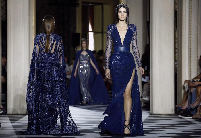 Zuhair-Murad-Fall-2018-Couture-at-Haute-Couture-Paris-Fashion-Week cobalt blue dress