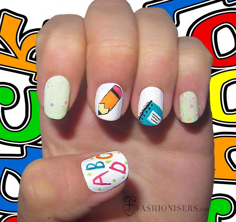 12 Cute Back To School Nail Art Designs