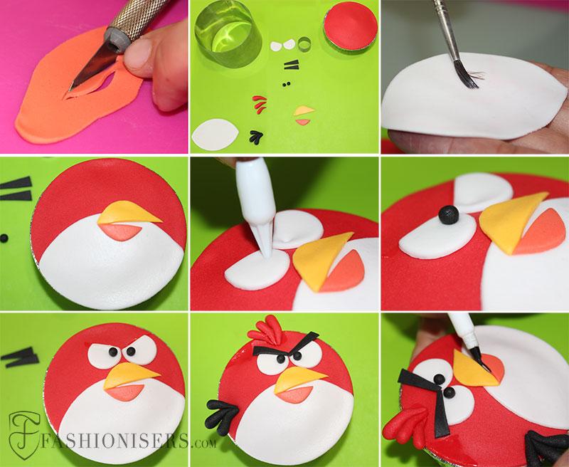 Angry Birds Red Bird Gumpaste Cupcake Decorating Tutorial