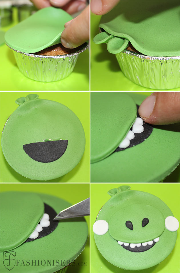 Angry Birds Pig Gumpaste Cupcake Decorating Tutorial