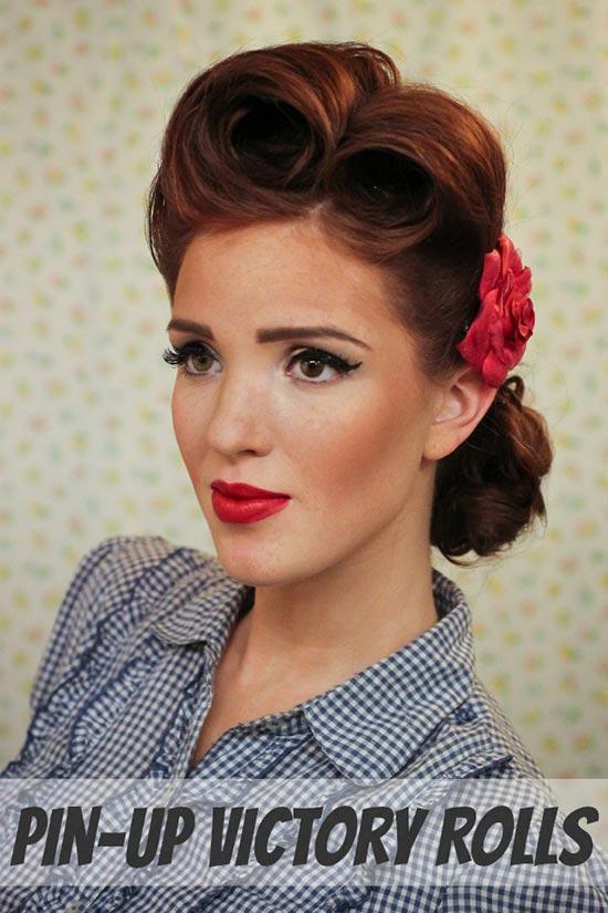 DIY Vintage Hairstyles: Pin-Up Victory Rolls Hairstyle Tutorial