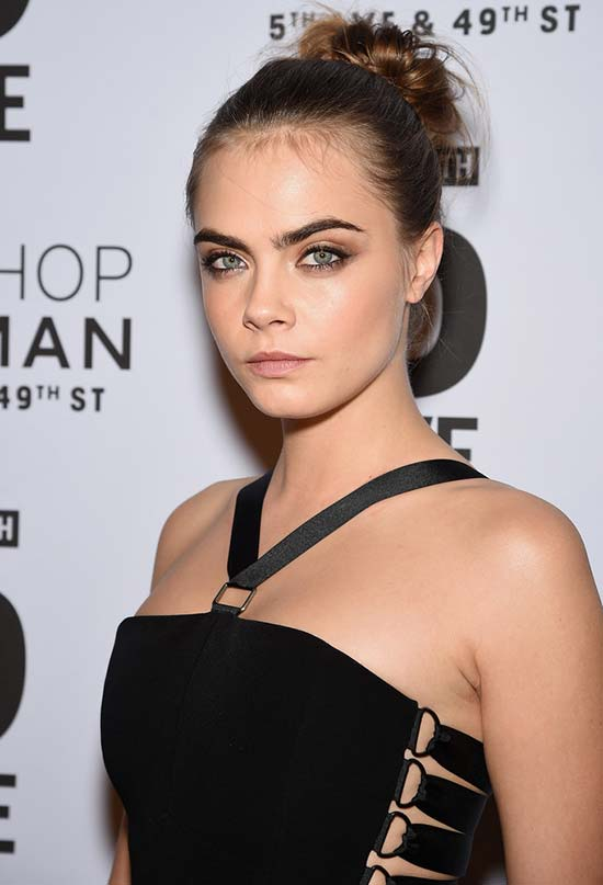 Glam Updo Holiday Hairstyles: Cara Delevingne