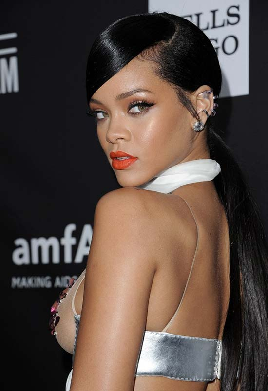 Glam Long Holiday Hairstyles: Rihanna