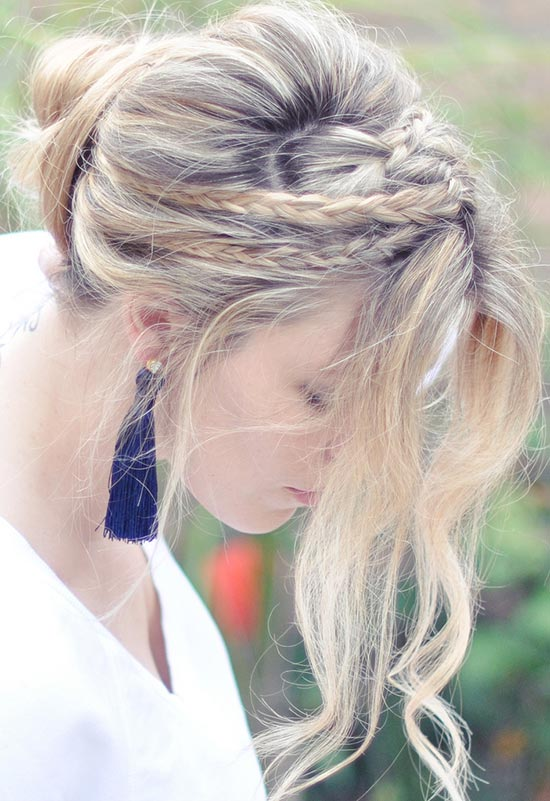 10 Pretty Hairstyles for Dirty Hair Days: Messy Rope Braided Loose Bun