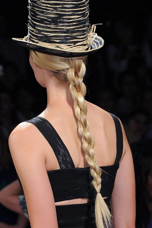 Spring/ Summer 2015 Trendy Ponytail Hairstyles: Donna Karan Rope Braided Ponytails