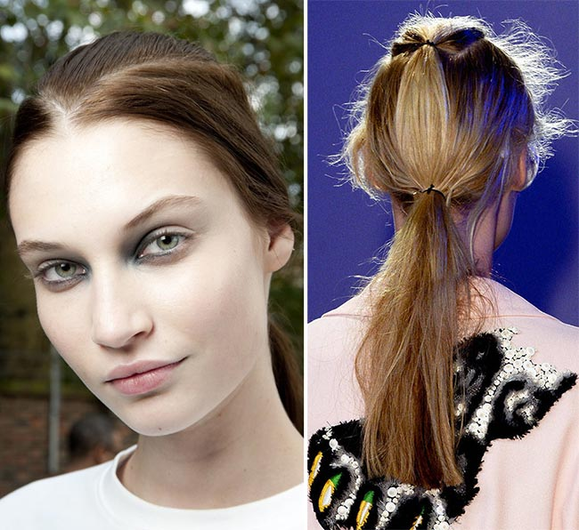 Spring/ Summer 2015 Trendy Ponytail Hairstyles: Giles Low Ponytails V-Shaped Parting