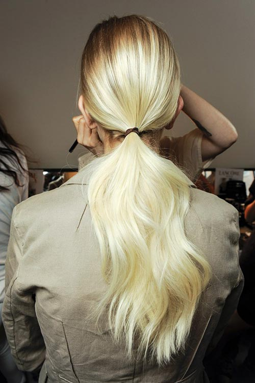 Spring/ Summer 2015 Trendy Ponytail Hairstyles: Jason Wu Voluminous Low Ponytails