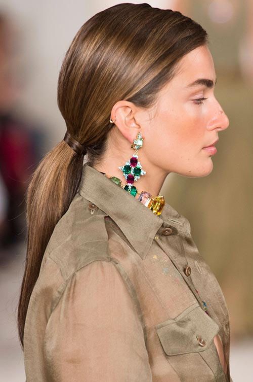Spring/ Summer 2015 Trendy Ponytail Hairstyles: Ralph Lauren Straight Long Ponytails