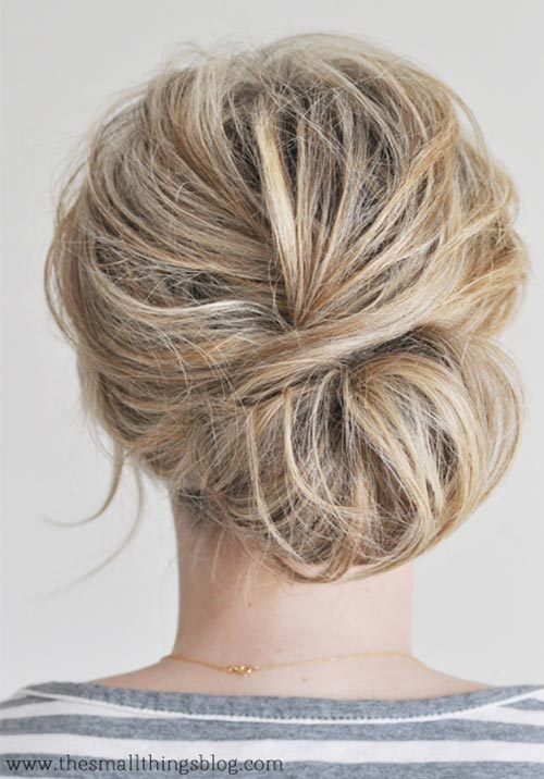 Updo Hairstyles for Short Hair: Messy Chignon