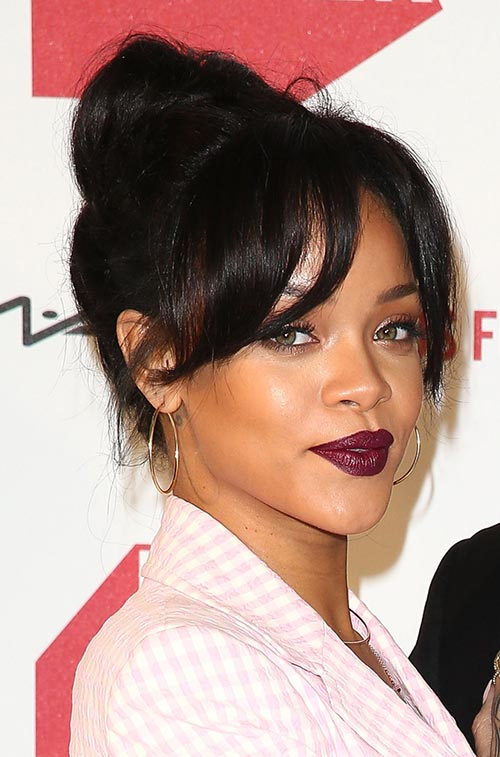 Casual At-Home Hairstyles from Celebs: Rihanna