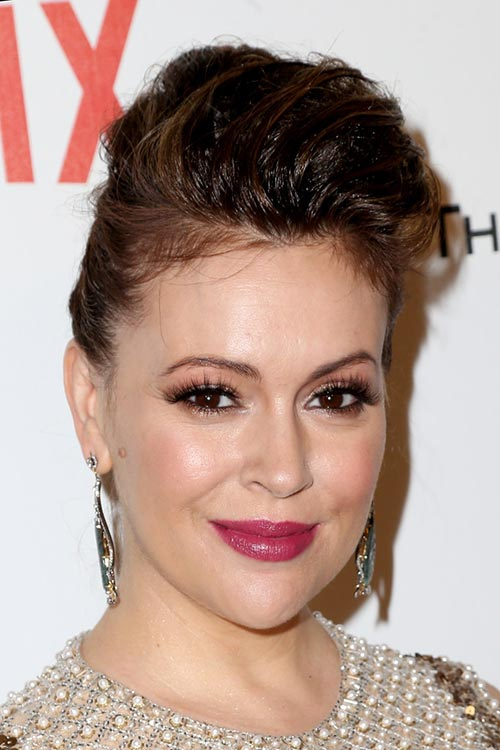 2015 Stylish Celebrity Hairstyles: Alyssa Milano Pompadour Updo