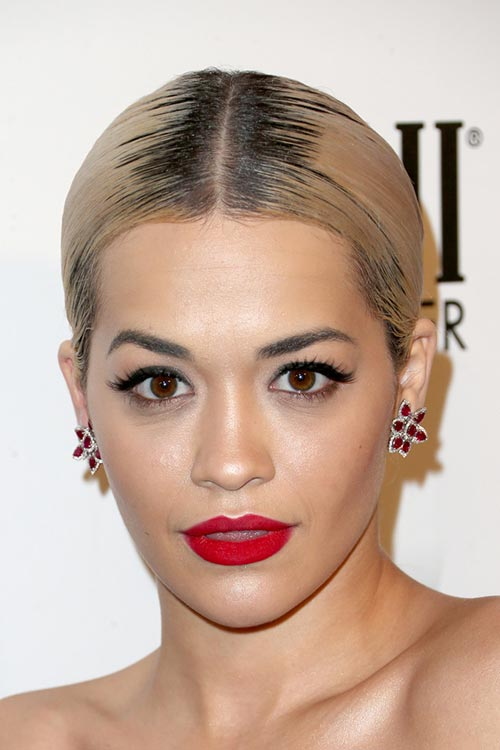 2015 Stylish Celebrity Hairstyles: Rita Ora Center-Part Sleek Ponytail