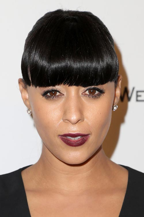 2015 Stylish Celebrity Hairstyles: Tia Mowry Ponytail With Bangs