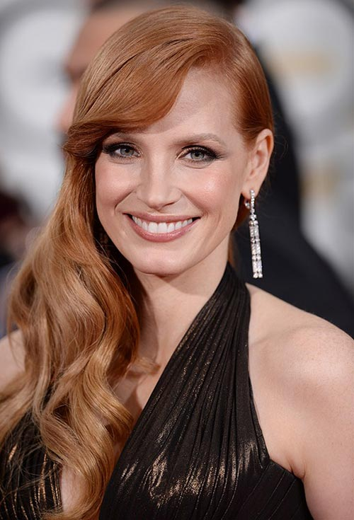 Golden Globes 2015 Celebrity Hairstyles and Makeup: Jessica Chastain