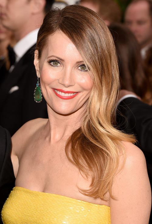 Golden Globes 2015 Celebrity Hairstyles and Makeup: Leslie Mann