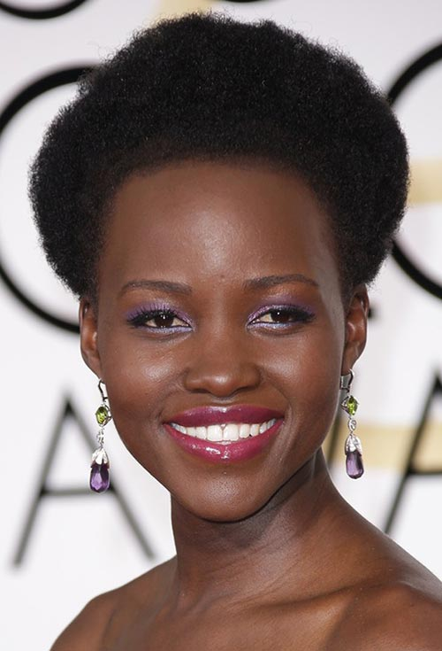Golden Globes 2015 Celebrity Hairstyles and Makeup: Lupita Nyong'o