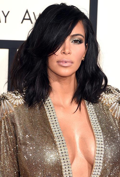 Grammy Awards 2015 Hairstyles and Makeup: Kim Kardashian