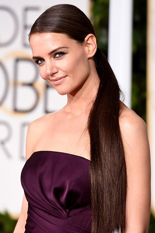 Trendy Hair Colors for Spring 2015: Katie Holmes Black Hair
